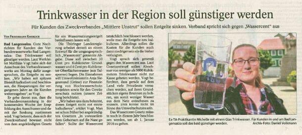 Trinkwasser in der Region soll günstiger werden