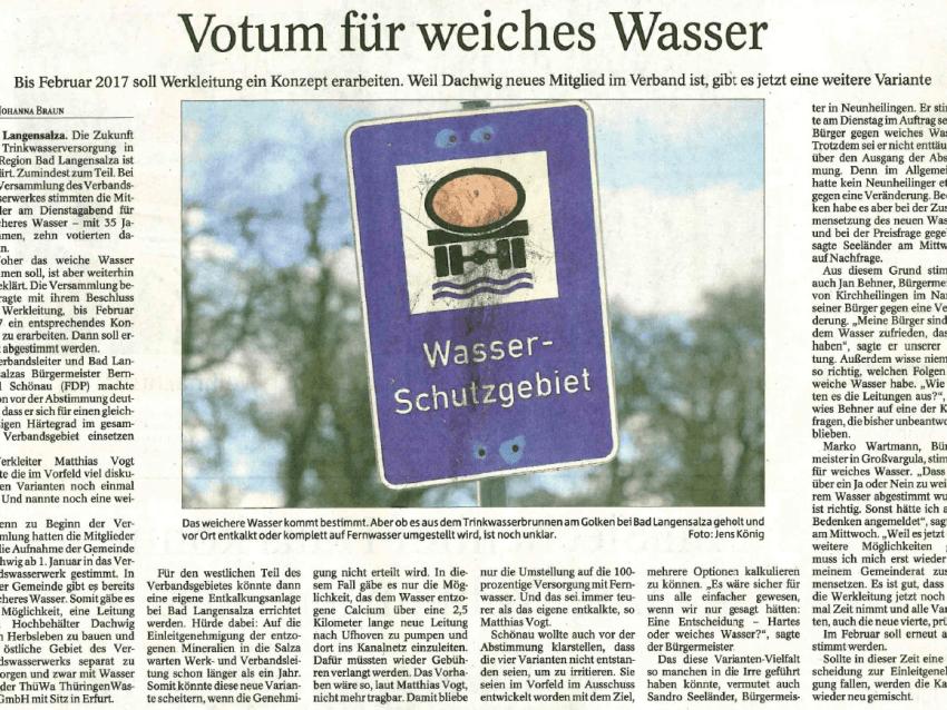 Thüringer Allgemeine berichtet über Entscheidung für weicheres Trinkwasser