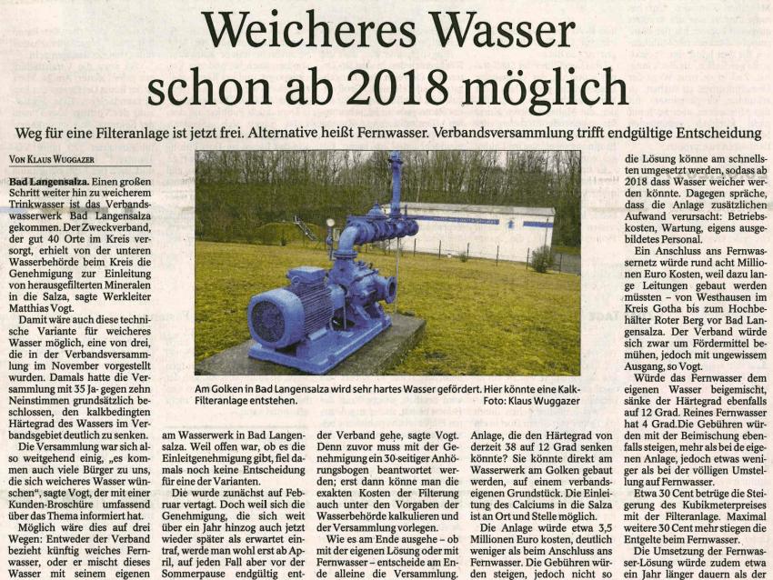 Thüringer Allgemeine zu möglichen Varianten für weicheres Trinkwasser
