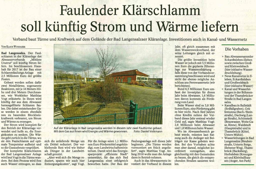 """Thüringer Allgemeine: """"Faulender Klärschlamm soll künftig Strom und Wärme liefern"""""""