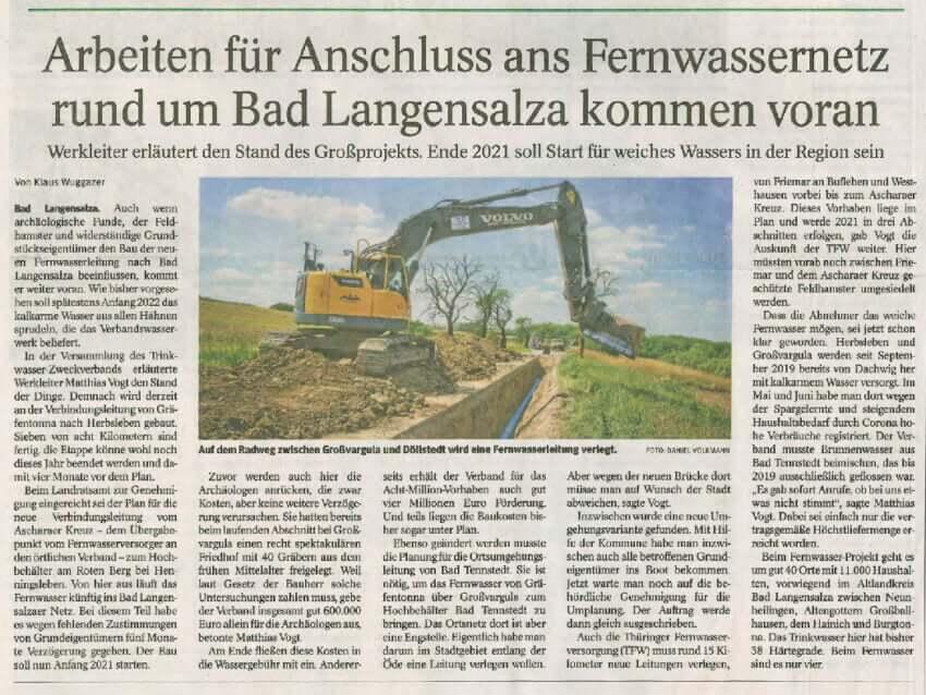 Arbeiten für Anschluss ans Fernwassernetz rund um Bad Langensalza kommen voran