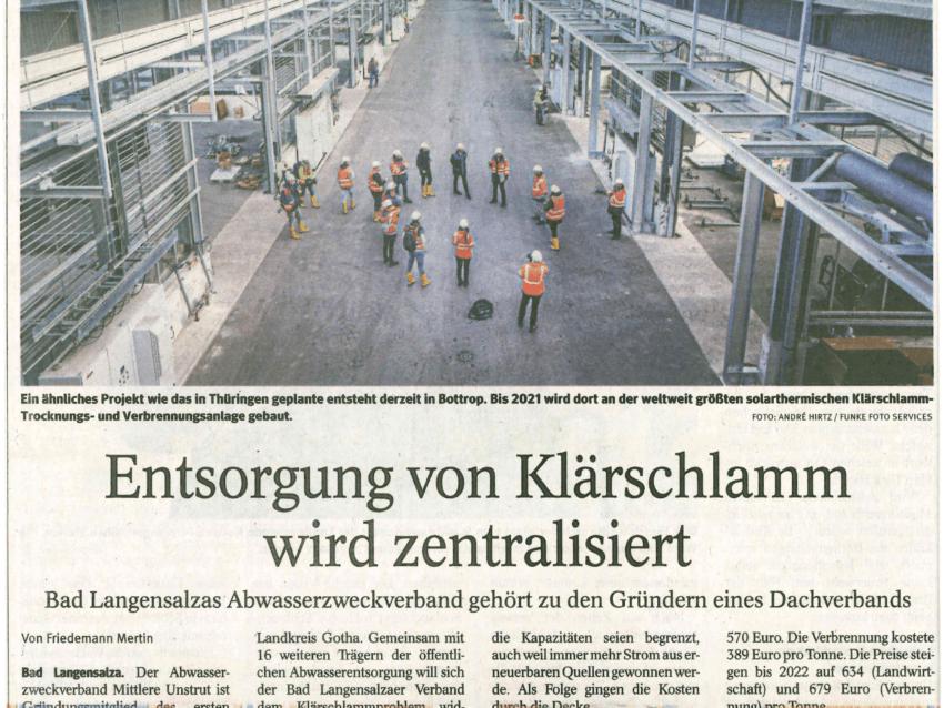 Thüringer Allgemeine: Abwasserzweckverband ist Gründungsmitglied des Zweckverbandes kommunale Klärschlammverwertung Thüringen